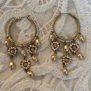 Vintage Guess Heart Pearl bead hoops